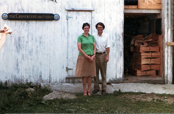Ruth and Bobby in front of the barn