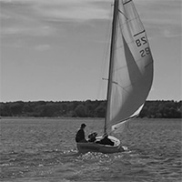 sailing in a small boat